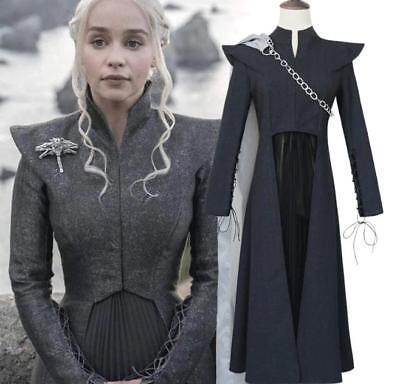 Daenerys Targaryen Game of Thrones Dress Season 7 Mother of Dragons Gray Costume (Seasonal Costumes)