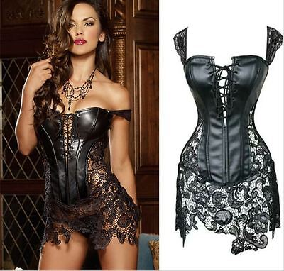 Sexy Leather Corset Skirt Black Fake Leather, Lace Plus Size Dress Hollow up (Fake Leather Corset)