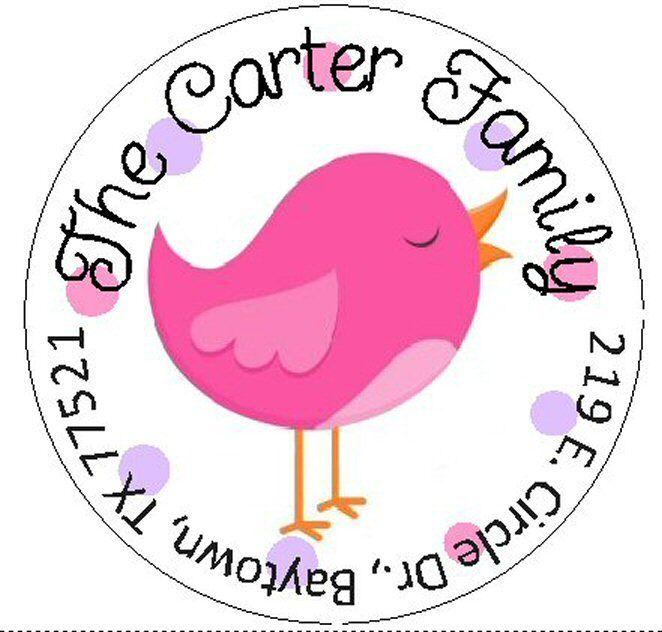 ~CUTE PINK BIRD~ Round Return Address Labels