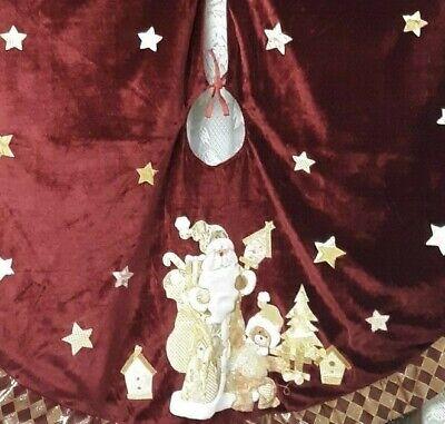 Christmas Tree Skirt Vintage Old World Santa Burgundy Velvet And Gold Color