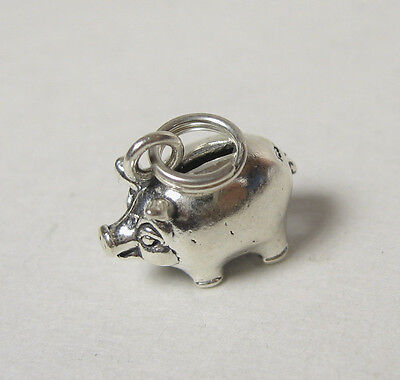 (Piggy Bank Charm .925 Sterling Silver Pendant Jewelry Savings Childrens 3-D)