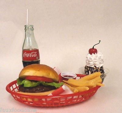 FAKE FOOD DINER CAR HOP JUMBO CHEESEBURGER W/BOTTLE COKE AND SUNDAE