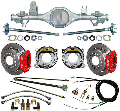 CURRIE 97-06 JEEP WRANGLER TJ REAR END & WILWOOD DISC BRAKES,RED,LINES,E-CABLES