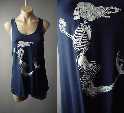 Skeleton Tank Top Womens (Mermaid Skeleton Undead Zombie Under the Sea Graphic Tank Top 189 mv Shirt S M)