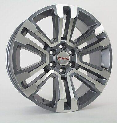 "22"" Fits GMC Denali Machined Gray Wheels Rims 2018 Yukon Sierra Silverado Tahoe"