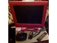 Pink TV (14 inch screen) with Freeview box and scart cable