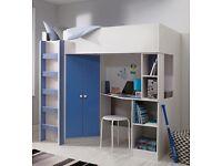 Boys blue/white mid loft bed