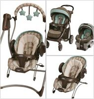 Stroller & infant car seat and 2 in 1 swing & bouncer set