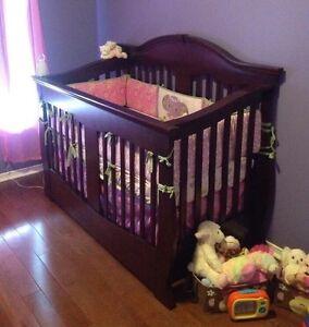 Chocolate Brown Convertible Crib, Dresser, Rocker w/ottoman