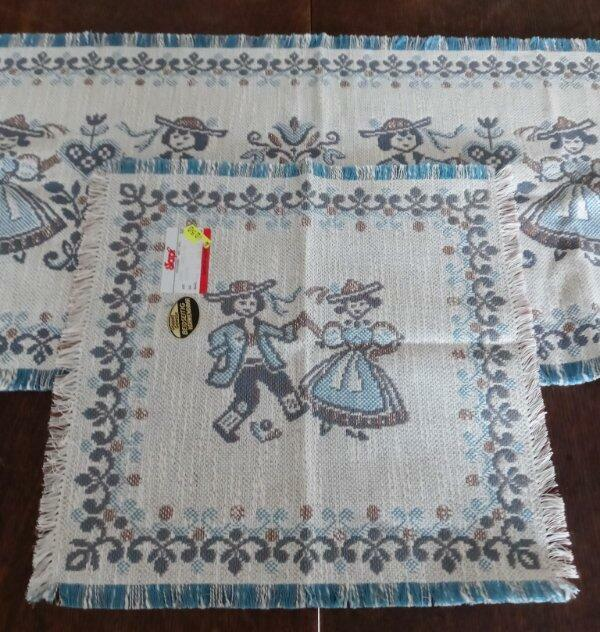 NWT Vintage Blue Austrian Table Runner Doily Set Folk Dancers Cotton Linen