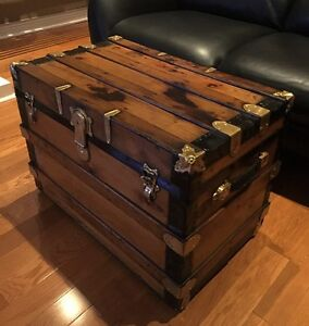 Antique Steamer Trunk 1920's All Wood Refinished - Coffee Table