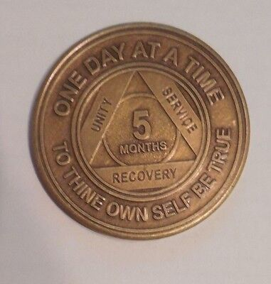 aa bronze alcoholics anonymous 5 months sobriety chip coin token medallion for sale  Shipping to Canada