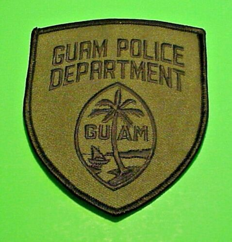 """GUAM  ( SUBDUED  BLACK/GREEN  )  POLICE PATCH  4 1/2""""  FREE SHIPPING!!!"""