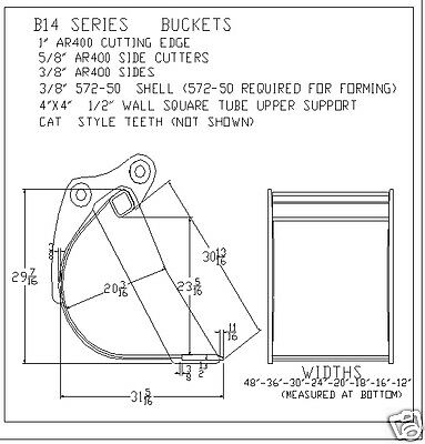 Bucket 12 Fits Excavator Or Loader Backhoe 14000-16000 Lbs New