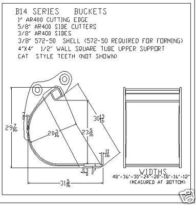 Bucket 12 Fits Excavator Or Loader Backhoe 14000-16000 Lbs New