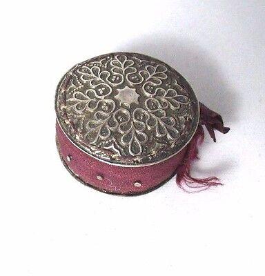 Sterling Silver SNOWFLAKE PIN cushion DISC; ORIGINAL pins & silk,ANTIQUE c1800's