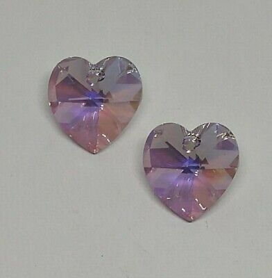 Swarovski Crystal 14mm Light Amethyst AB Heart 6228 Pendant; DIY Jewelry Ab Swarovski Crystal Heart Pendant
