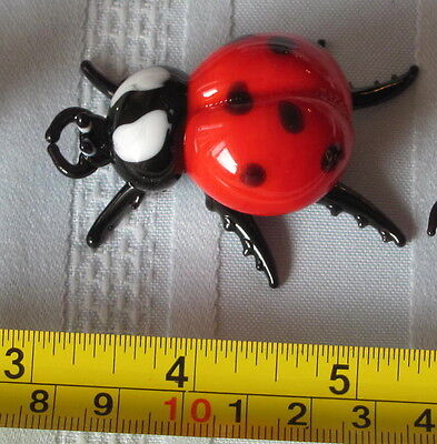 2 Glass Ladybugs Plus Free mini glass ladybug