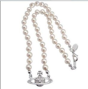 2015 Vivienne Westwood Small pearl necklace wedding Silver Saturn Box+ Bag