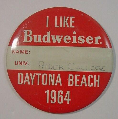 1964 Spring Break Budweiser Pin-Daytona Beach-Rider College-Large