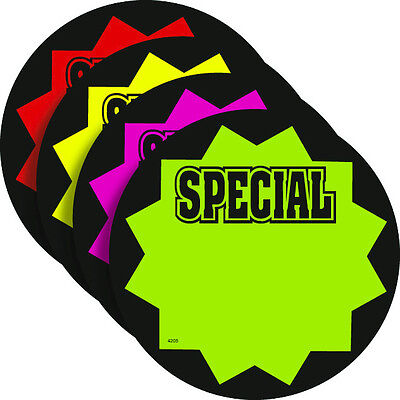 Special 3.25 Round Fluorescent Burst Neon Retail Sale Signs Cards 25 Each Color
