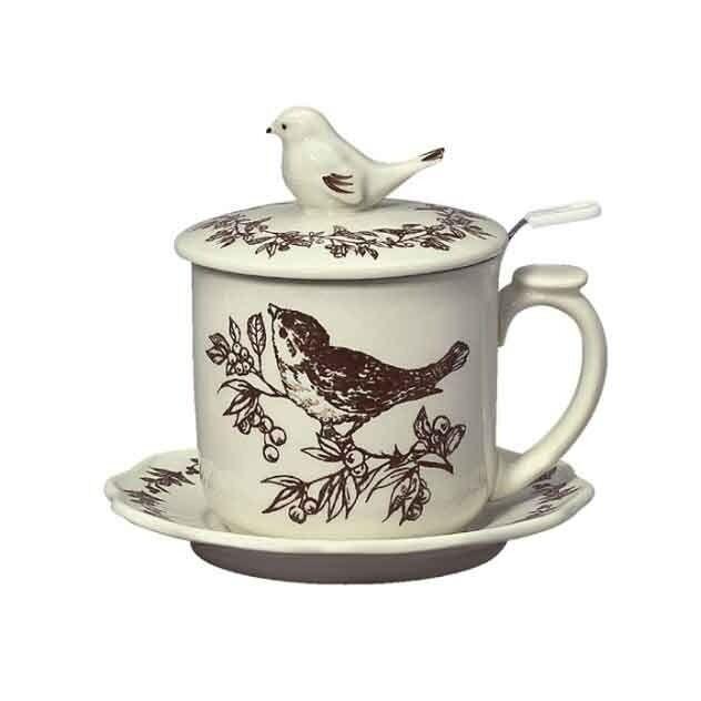 Andrea Sadek Ceramic Covered Tea Mug w/Strainer Brown Bird Toile #19866 NIB