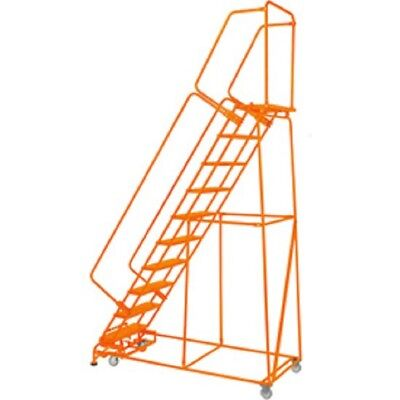 New Perforated 24w 10 Step Steel Rolling Ladder 21d Top Step W Handrails