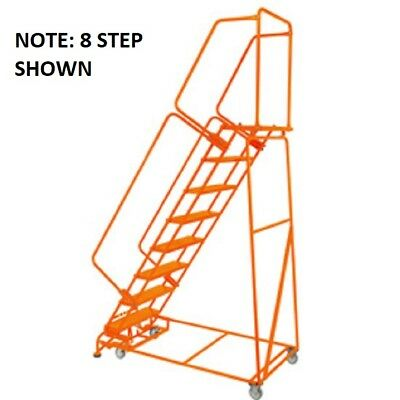 New Perforated 24w 7 Step Steel Rolling Ladder 14d Top Step W Handrails