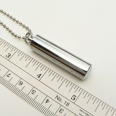 Metal Tube Pendant Necklace ( urn pet ashes memorial cremation miniature vials)