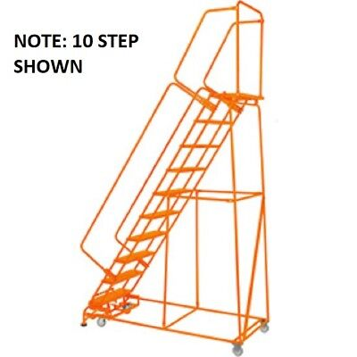 New Perforated 24w 9 Step Steel Rolling Ladder 21d Top Step Whandrails