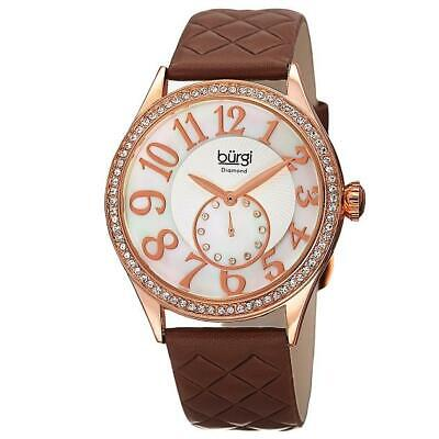 Burgi BUR141RGBR Diamond Accented MOP Dual Time Zone Crystal Accent Womens Watch
