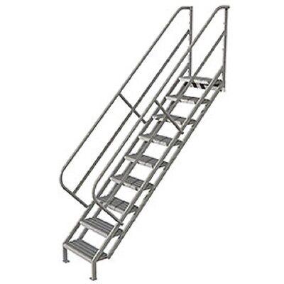 New 9 Step Industrial Access Stairway Ladder Grip Strut