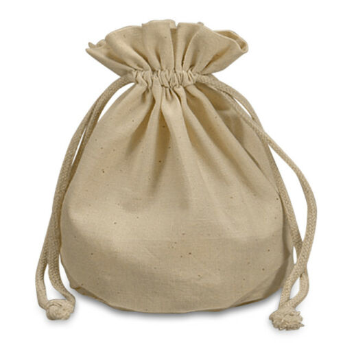 POUCH - NATURAL MUSLIN ROUND BOTTOM Crystal Bag w/ Drawstring - 7 x 4.75 inch