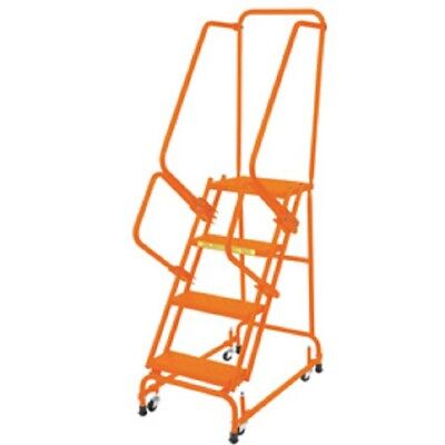 New Perforated 16w 4 Step Steel Rolling Ladder 14d Top Step W Handrails