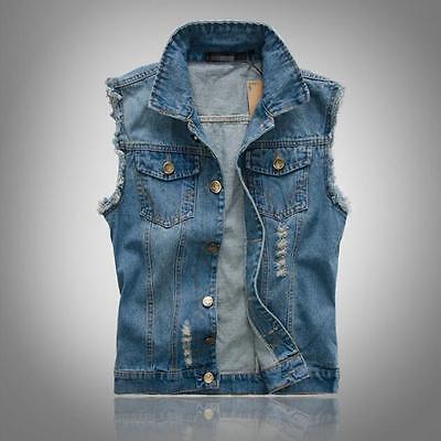 Men Denim Vest Jean Jacket Waistcoat Sleeveless Vintage Punk Casual Jackets Coat Denim Jean Jacket Coat