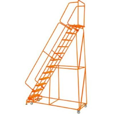 New Perforated 24w 12 Step Steel Rolling Ladder 21d Top Step Whandrails