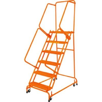 New Perforated 24w 6 Step Steel Rolling Ladder 21d Top Step Whandrails