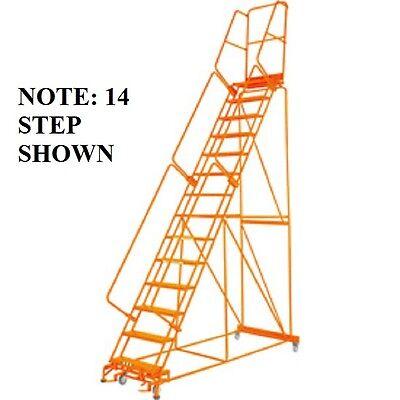 New 15 Step Steel Rolling Ladder 21d Top Step W Handrail Lock Step-orange