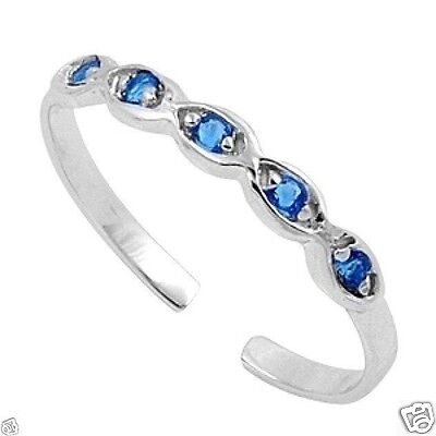 Adjustable Infinity Toe Ring with CZ Sterling Silver 925 Jewelry Blue Sapphire