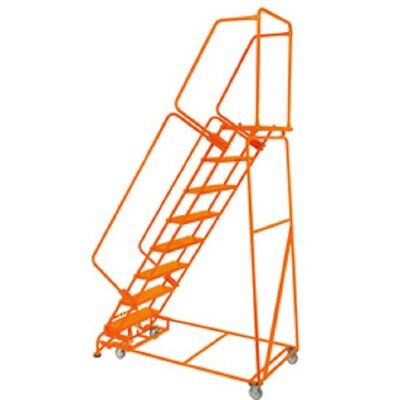New Perforated 24w 8 Step Steel Rolling Ladder 21d Top Step Whandrails