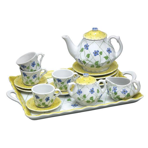 SADEK Ceramic 18 PC Child's Tea Set Yellow Polka Dot & Flowers Serving Tray