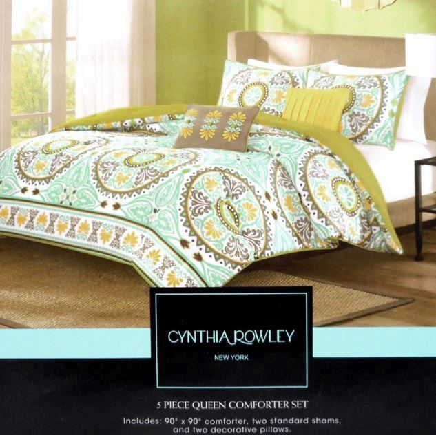 CYNTHIA ROWLEY CIRCLE MEDALLION QUEEN COMFORTER SET TEAL GREEN BROWN YELLOW AQUA