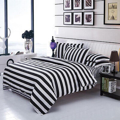 Black & White Bedding Set Quilt Duvet Cover Set Pillowcase Twin Queen King (King Size Black And White Bedding Set)