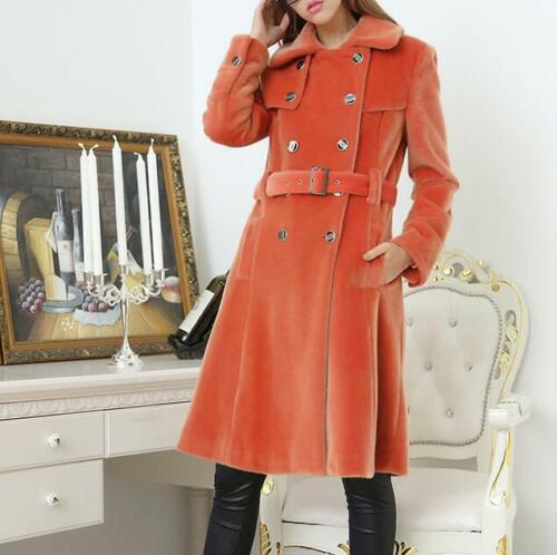 5dc9a26c507 British Womens Wool Blend Double Breasted Belted Trench Coat Mid ...