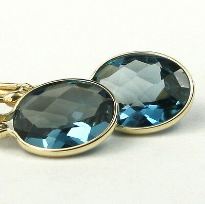 London Blue Topaz 14KY Gold Leverback Earrings E101