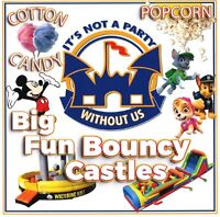 Bouncy castle Disney themed children party cotton candy