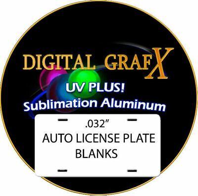 Aluminum Dye Sublimation Auto License Plate Blanks - 100pcs .032thick 1.25 Ea