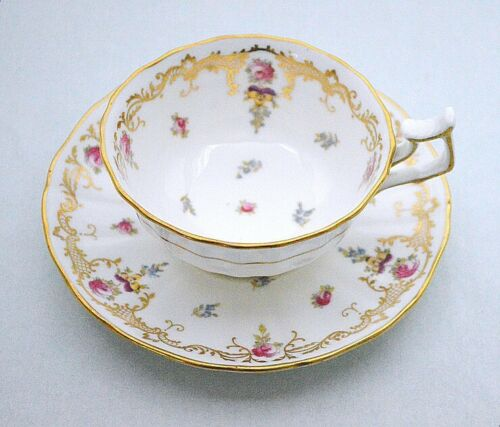 Cauldon England Pink Rose Floral Gold Decorated Cup Saucer Set