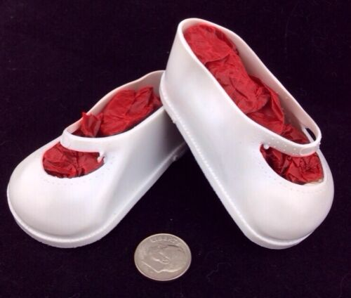 Vintage 3 White Soft Rubber Plastic DOLL SHOES Mary Jane Style Made USA Vinyl - $2.79