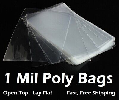 Clear Plastic Bags 100 200 300 500 1000 Flat Open Top Poly Baggies Fda 1mil